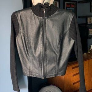 Mirror Room Studio: Leather Front Panel Cardigan